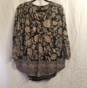 💝 Lucky Brand black floral paisly blouse